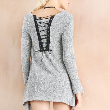 Tied-Up Back Detail Marled Knit Top