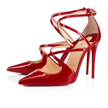 Christian Louboutin Cl Crossfliketa Flamenco Patent Leather 18s Pumps 1180356r158 - Best Online Sale