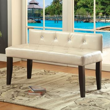 Furniture of america CM-BN6795WH-S Galen iii collection pearl white crocodile leatherette crystal button tufted seat and dark wood legs bedroom bench