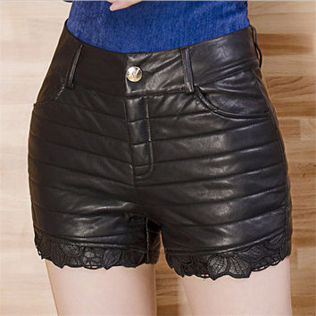 Winter Autumn Women Plus Thick Cotton Lace PU Leather Shorts Middle-Aged Female Was Thin Outerwear Casual Warm Shorts T050