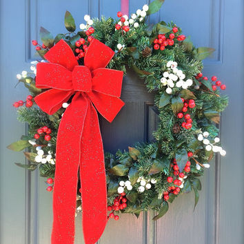 Red White Christmas Wreath Large Red Bow Holiday Berry Wreaths Evergreen Door Decor