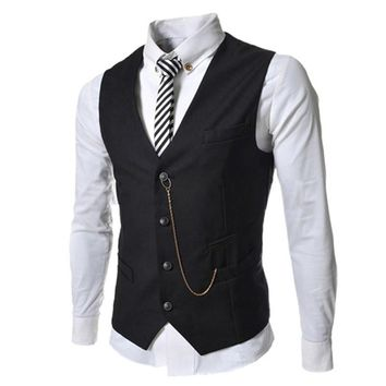 Free Shipping 2017 New Men's Suit Vest Metal Chain V-necke Slim Fit Fashion Men Vest Male Blazer Vest 4 Color Size:M-XXL
