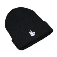 Autumn Winter Outdoor Warm Winter Knitted Beanie Black Embroidered Middle Finger Cuffed Skully Hat