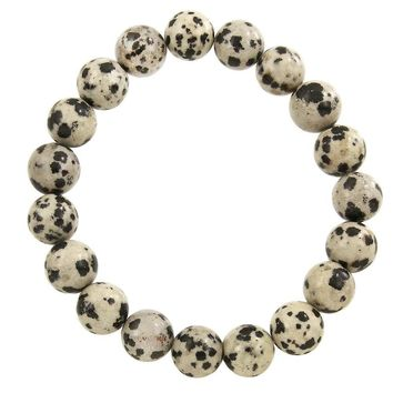 Natural Stone Stretch Bracelet in Dalmatian Stone