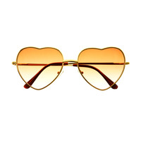 Two Tone Heart Shaped Lens Gold Metal Retro Fashion Sunglasses W1430