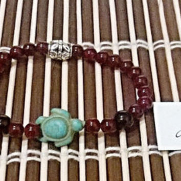 "Men's Bracelet: Genuine Jasper,Turquoise Turtle And Silver Plated Copper ""Nautical Glory"" By ANena Jewelry"