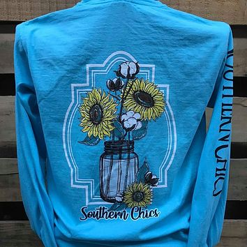 Southern Chics Cotton Mason Jar Sunflowers Comfort Colors Long Sleeves Bright Girlie T Shirt
