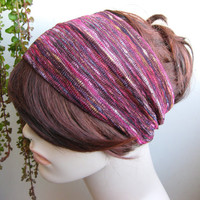 Raspberry Ice Mix Striped Turban Wrap Headband, Women's Wide Head Wrap, Turband, Hair Accessories