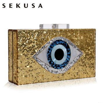 SEKUSA Eyes Print  Acrylic Evening Clutch Box Bag For Women Wedding Party Fashion Handbags Chain Shoulder Bag Messenger Bags