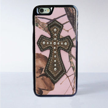 Pink Camo with Brown Leather Cross iPhone 6 Case