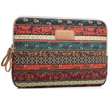 "Ethnic Floral  Macbook Laptop Air Pro Canvas Fabric Sleeve Case Bag 10"" 11"" 12"" 13"" 14"" 15"" -N0025"