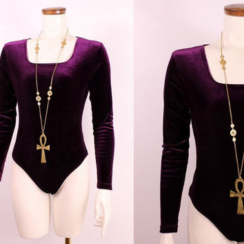 Vintage 90s - Plum Purple Stretch Velvet - Long Sleeve Tight Fitted Bodysuit Onesuit Top Blouse