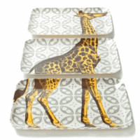 Giraffe Melamine Trays, Set of 3 - The Afternoon