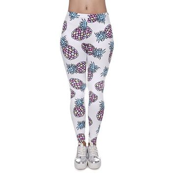 Assorted Fruits Printed Slim Aztec Leggings