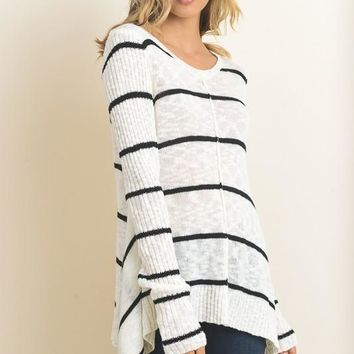 I Need You Sweater - White & Black Striped