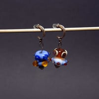 Handmade lampwork asymetric earrings, OOAK, small earrings, dotted beads, silver plated, silver covered, blue, yellow, orange, white