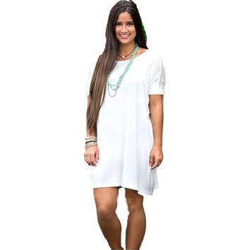 Authentic Piko Short Sleeve Tunic, Off White