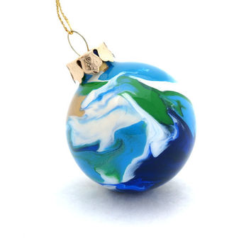 OOAK Handmade Glass Christmas Ball Ornament Painted Inside Earth Colors - Round 2""
