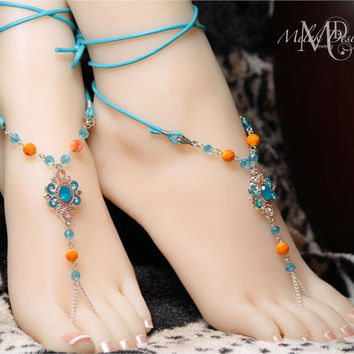 Blue and Coral Boho Barefoot Sandals