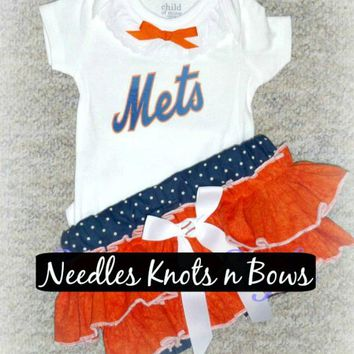 Girls New York Mets Game Day Outfit, Baby Girls Baseball Outfit, Coming Home Outfits