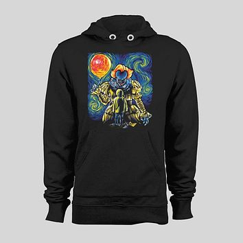 "PENNYWISE ""STARRY DERRY"" CUSTOM ART FULL PRINT HORROR MOVIE HALLOWEEN HOODIE / SWEATER"