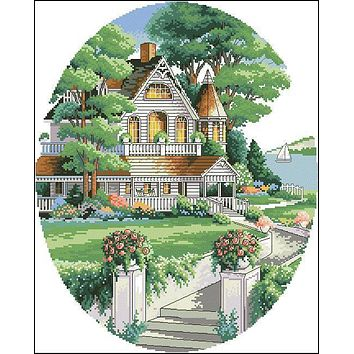 Top Quality Popular Lovely Counted Cross Stitch Kit Lovely Victorian Home House dim 03874