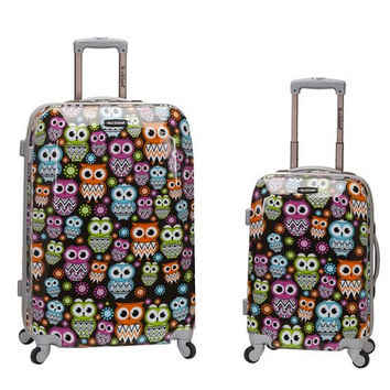 F212-OWL 2 Pc Polycarbonate/Abs Upright Luggage Set