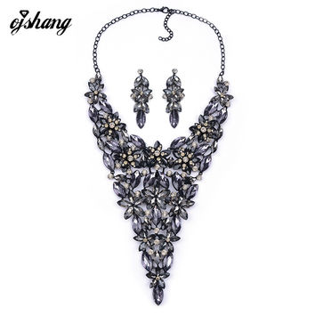 Big Jewelry Sets Crystal Necklace Earring Red Gem Choker Bijoux Large Fashion Collier Long Wedding Necklaces Pendants Women