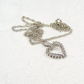 Heart Diamond Vintage Sterling Silver Art Deco Style Pendant Necklace
