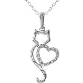 "10K White Gold .05ctw Diamond Cat With Heart 18"" Necklace"