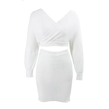 So Lavish Ribbed Sweater V Neck Long Sleeve Cross Wrap Crop Pullover Two Piece Bodycon Mini Dress