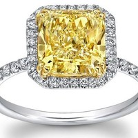Engagement Ring - Fancy Yellow Radiant Diamond White Diamond Halo Engagement Ring - ES1114