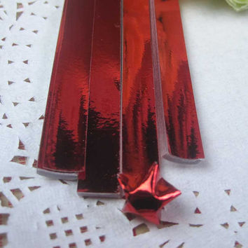 Origami Folding Paper / Lucky Star Paper / Favour Strips Colors / Metallic Red Bling 90 Stripes