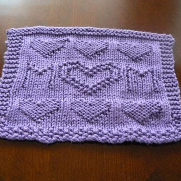 Hand Knit Amethyst Mom With Hearts Dish Cloth or Wash Cloth | hollyknittercreations - Housewares on ArtFire