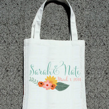 Modern Floral Personalized Totes - Wedding Welcome Tote Bag