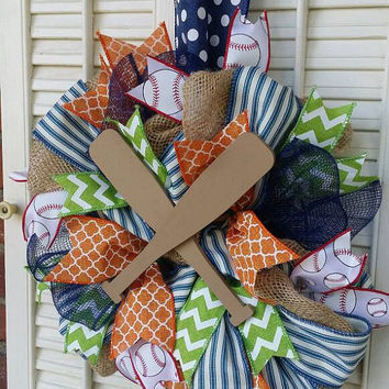 Baseball Nursery Navy Orange Baby Welcome Wreath Blue Lime Baseball Baby Shower Baseball Decor Baseball Wreath Nursery Decor Boy Baby