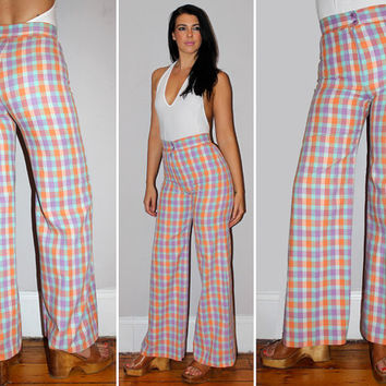 Vintage 70s PLAID High Waisted Pants / SORBET Colors Mint Green, Orange, Lavender / Sailor Leg, Bell Bottoms, Flares / Bobbie Brooks / Small