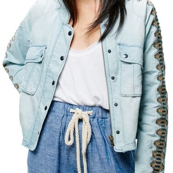 Free People Embroidered Linen & Cotton Jacket | Nordstrom