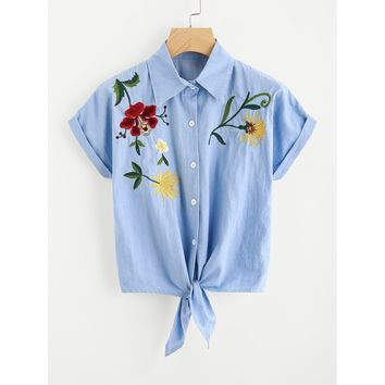 Browyn Tie Front Flower Embroidered Denim Shirt - Blue
