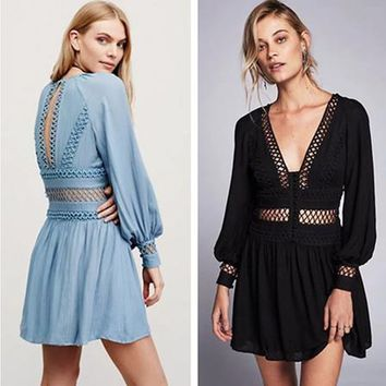 Free People Fashion Retro V-Neck Hollow Lace Long Sleeve Ruffle Mini Dress