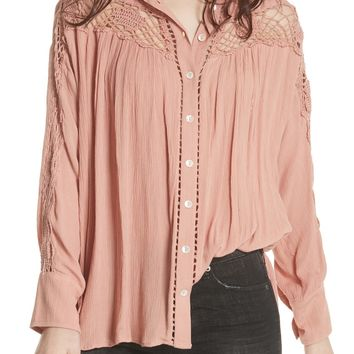Free People Katie Bird Crochet Inset Shirt | Nordstrom