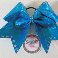 Wild Blue Yonder Princess Trim Rhinestone Large Cheer Bow Hair Bow Cheerleading