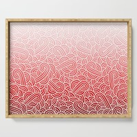 Faded red and white swirls doodles Serving Tray by savousepate