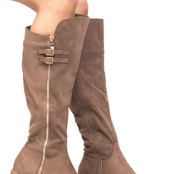 FAUX SUEDE SIDE ZIP BUCKLED KNEE HIGH BOOT
