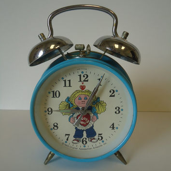 1980's Cabbage Patch Kids Twin Bell Wind Up Alarm Clock w/ Date Appalachian Art Works