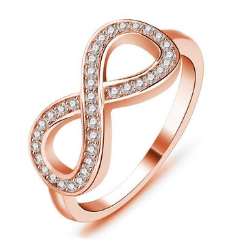 Micro Inlay Cubic Zirconia Infinity Rings Rose Gold Color Fashion Spacial Wedding/Engagement 8 Ring Romantic Jewelry For Women