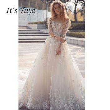 It's Yiiya Long Sleeves Sexy Backless Train Illusion Bride Gowns Lace Trailing Wedding Dress Vestidos De Novia Casamento Y8004