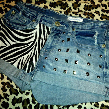 Zebra Print Studded Shorts by FlowerSourDiesel on Etsy