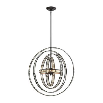 31661/6 Crystal Orbs 6 Light Pendant In Oil Rubbed Bronze - Free Shipping!