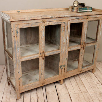 SALE Antique Chippy Cream Turquoise Green Buffet Sideboard Media Console Double Bathroom Vanity